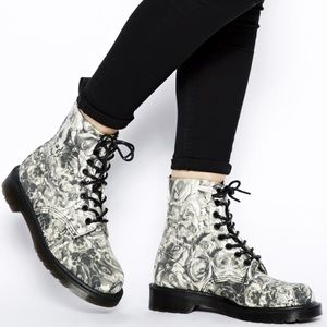 Dr. Martens Skull & Roses Lace Up Canvas Boots